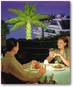 Fine dining by the Pool with our Lighted Palm Trees